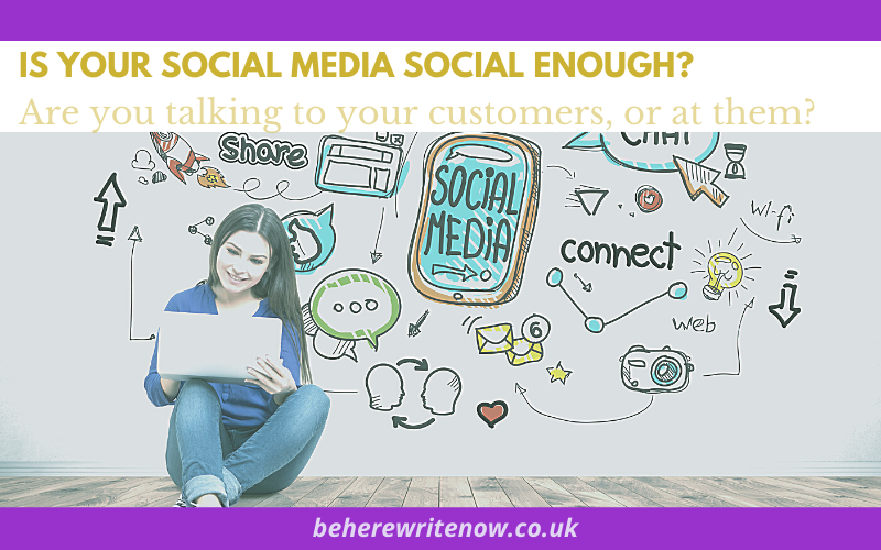 woman sitting at laptop with social media icons around her - post title is your social media social enough? Are you talking to your customers or at them?